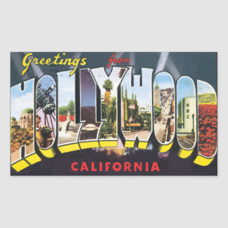 Greetings From Hollywood California, Vintage Sticker