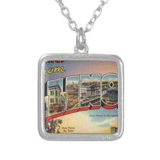 Greetings From Illinois Silver Plated Necklace