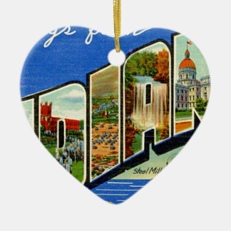 Greetings From Indiana Ceramic Ornament
