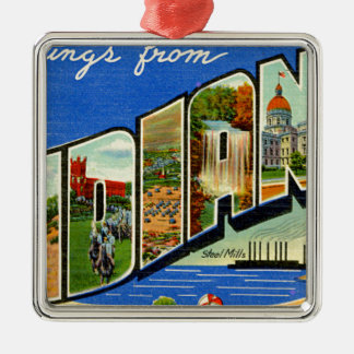 Greetings From Indiana Metal Ornament