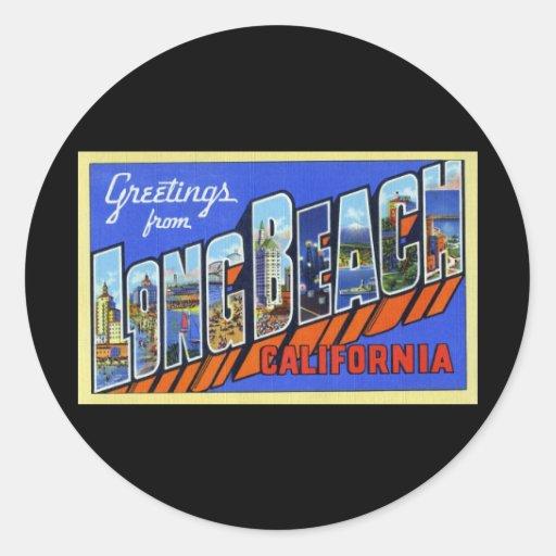 Greetings from Long Beach California Round Sticker