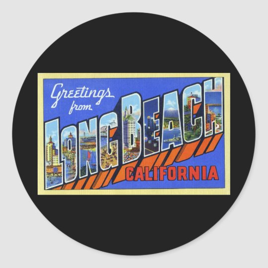 Greetings from Long Beach California Round Sticker