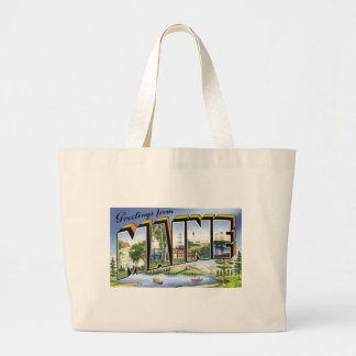 Greetings From Maine Large Tote Bag