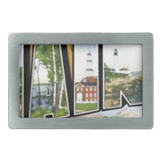Greetings From Maine Rectangular Belt Buckle