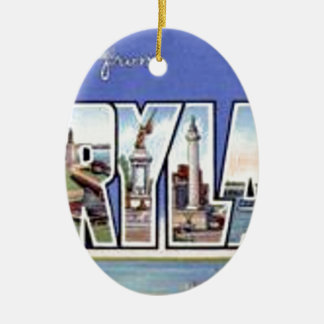 Greetings From Maryland Ceramic Ornament
