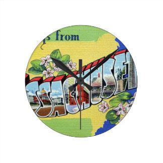 Greetings From Massachusetts Round Clock
