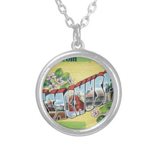 Greetings From Massachusetts Silver Plated Necklace