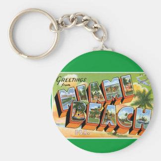 Greetings from Miami Beach Keychain