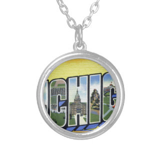 Greetings From Michigan Silver Plated Necklace