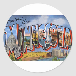 Greetings From Minnesota Classic Round Sticker