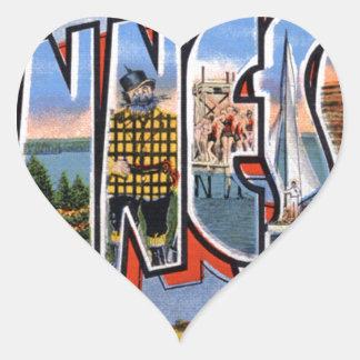 Greetings From Minnesota Heart Sticker