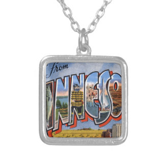 Greetings From Minnesota Silver Plated Necklace