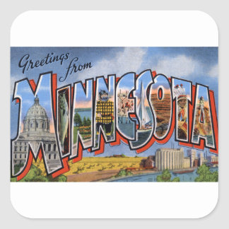 Greetings From Minnesota Square Sticker