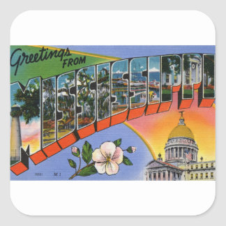 Greetings From Mississippi Square Sticker