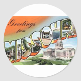 Greetings From Missouri Classic Round Sticker