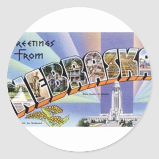 Greetings From Nebraska Classic Round Sticker