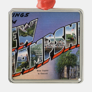 Greetings From New Hampshire Metal Ornament