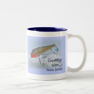 Greetings From New Jersey Fishing Lure Two-Tone Coffee Mug