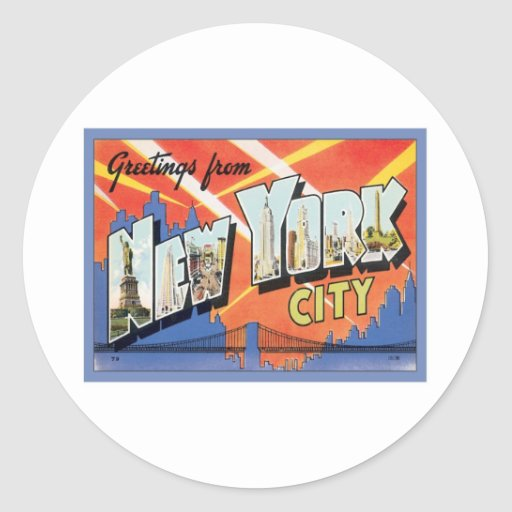 Greetings From New York City Round Stickers