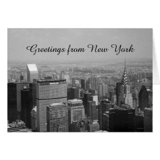 Greetings from New York, New York Black and White Greeting Card