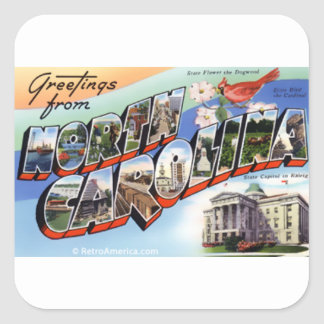 Greetings From North Carolina Square Sticker