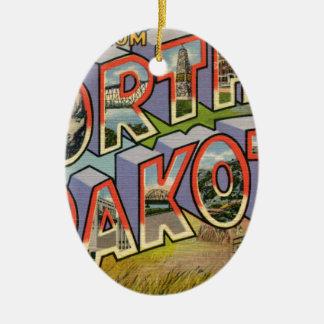 Greetings From North Dakota Ceramic Ornament