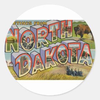 Greetings From North Dakota Classic Round Sticker