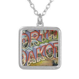 Greetings From North Dakota Silver Plated Necklace
