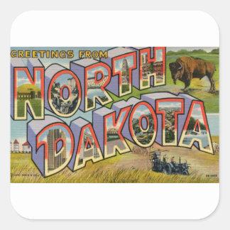 Greetings From North Dakota Square Sticker