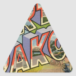 Greetings From North Dakota Triangle Sticker
