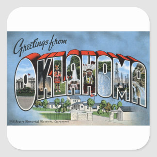 Greetings From Oklahoma Square Sticker