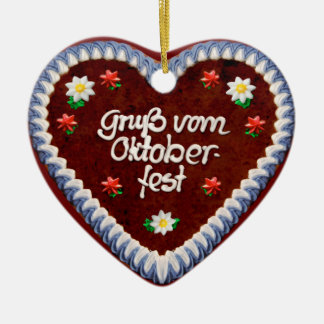 Greetings from Oktoberfest (customizable) Ceramic Heart Ornament