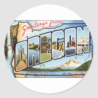 Greetings From Oregon Classic Round Sticker