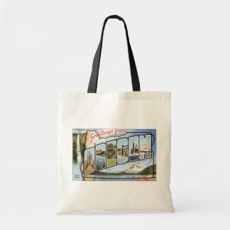 Greetings From Oregon Pacific Ocean, Vintage Tote Bag