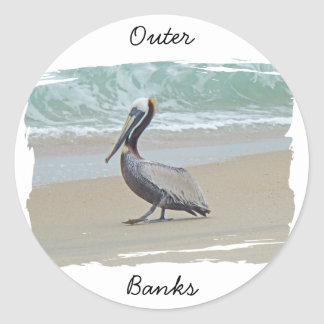 Greetings From Outer Banks OBX NC Round Sticker