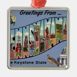 Greetings From Pennsylvania Metal Ornament