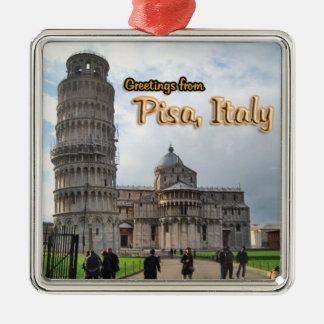Greetings From Pisa Italy Metal Ornament