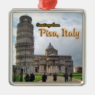 Greetings From Pisa Italy Silver-Colored Square Ornament