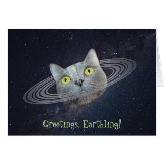 Greetings From Planet Caturn Funny Cat Card