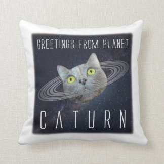 Greetings From Planet Caturn Funny Cat Pillow