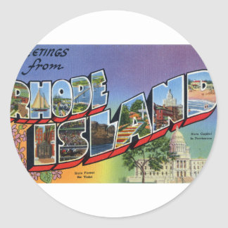 Greetings From Rhode Island Classic Round Sticker