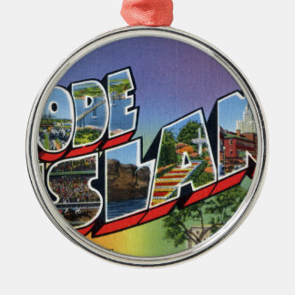 Greetings From Rhode Island Metal Ornament