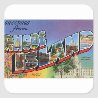 Greetings From Rhode Island Square Sticker
