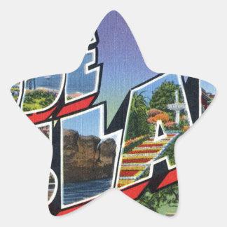 Greetings From Rhode Island Star Sticker