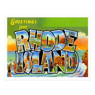 Greetings From Rhode Island Vintage Postcard
