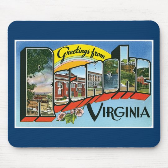 Greetings from Roanoke, Virginia! Retro Post Card Mouse Pad