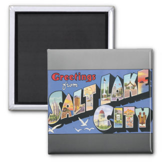Greetings From Salt Lake City, Vintage Square Magnet