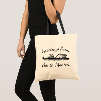 Greetings from Santa Monica California Pier Cali Tote Bag