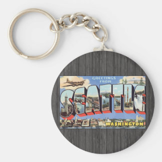 Greetings From Seattle Washington, Vintage Keychain