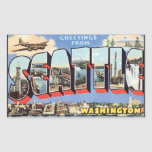 Greetings From Seattle Washington, Vintage Rectangular Stickers